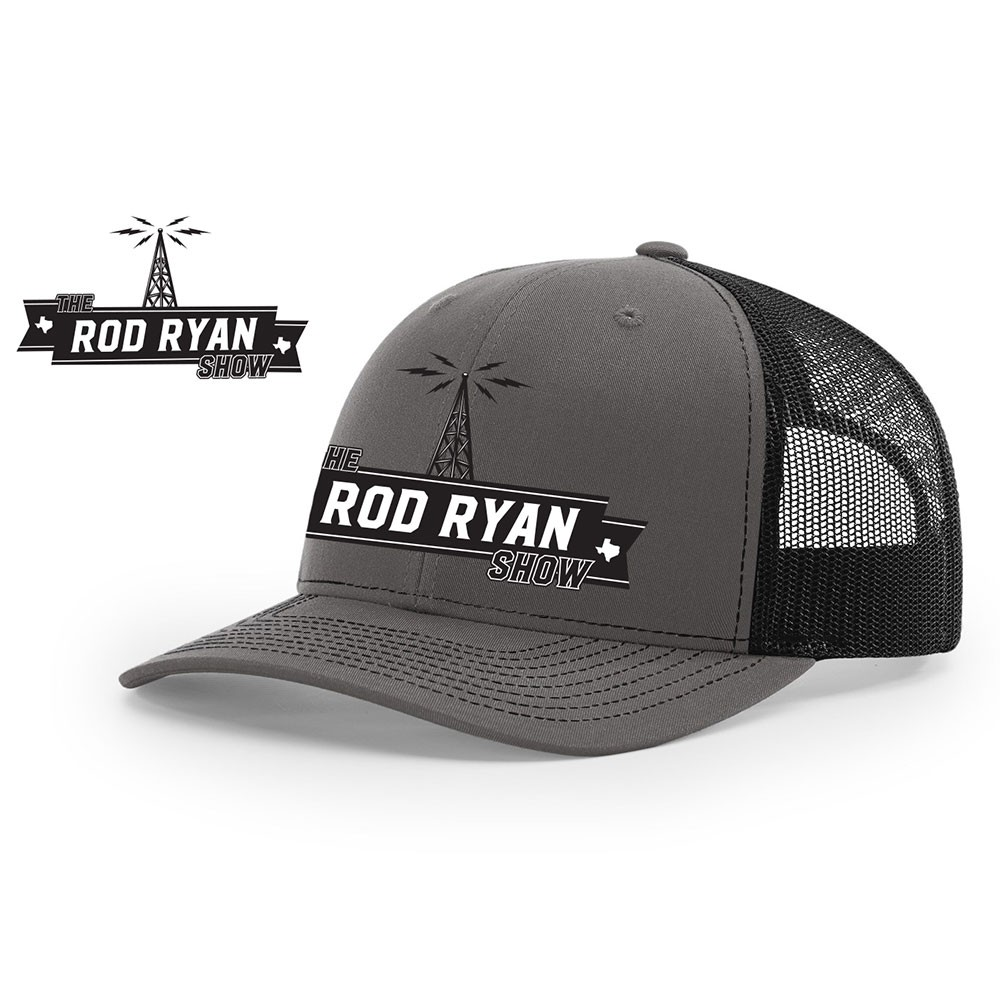 Radio Tower Embroidered Meshback Cap - Charcoal/Black