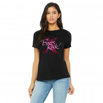Ladies Boobs Rock 10 Year Design Relaxed Tee - Black