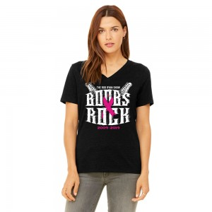 Juan Ortiz Design Ladies Boobs Rock V-Neck Relaxed Tee - Black Heather