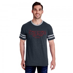 Mens Stranger Varsity Ringer Tee - Black Heather