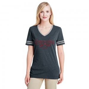 Women's V-Neck Stranger Varsity Ringer - Black Heather